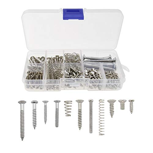 149 piezas Kit de tornillos para guitarra eléctrica bajo puente Micro afinador interruptor placa de cuello con caja de almacenamiento 9 tipos