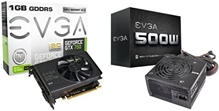 EVGA  GeForce GTX 750 Superclocked 1GB GDDR5 128bit Graphics Card and EVGA 500W 80PLUS Certified Power Supply