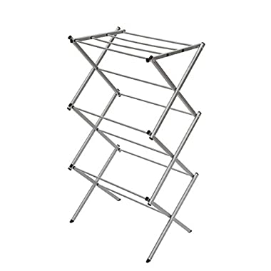 STORAGE MANIAC 3-tier Folding Anti-Rust Compact Steel Clothes Drying Rack - 22.44 x14.57 x41.34