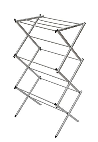 STORAGE MANIAC Foldable Clothes Drying Rack 3-Tier 41 Inch Height Laundry Rack with Rustproof Coating Silvery