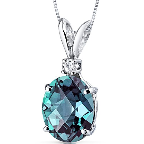 14 Karat White Gold Oval Shape 3.25 Carats Created Alexandrite Diamond Pendant