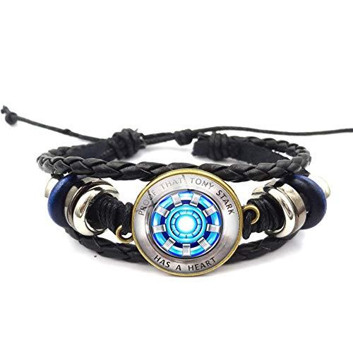 Zidao Iron Man Sammeln Herz-Edelstein-Armband geflochten handgefertigt DIY Kreative Mehrschicht-Schmuck Gedenkgeschenk L blau