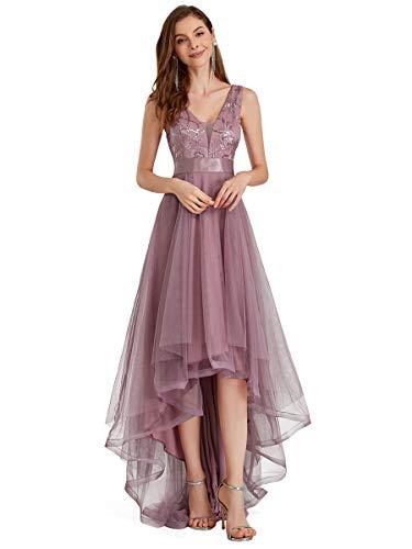 Ever-Pretty Vestiti da Ballo Scollo a V Orlo Alto-Basso Stile Impero Abiti da Damigella Sera e Cerimonia Donna Orchidea 40