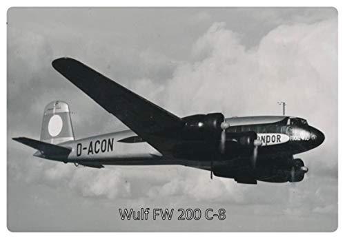 Metalen bord 30x20cm Focke Wulf FW 200 C-8 Condor vliegtuig Duitse Rijk bord
