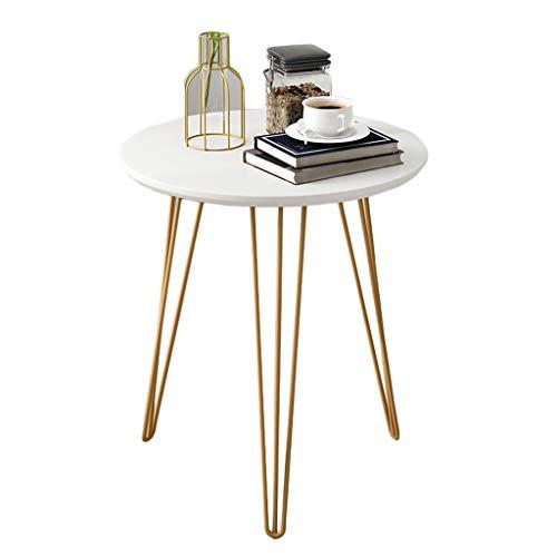 Nordic bank, woonkamer, tafel, smeedijzer, nachtkastje, eenvoudig, rond, balkon, kleine salontafel. 50X50X50cm Wit