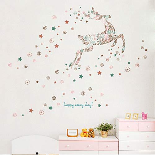 Grand Taille Dessin Animé Sika Deer Autocollants Muraux Étoile De Flocon De Neige Pour Enfants Chambres Chambre Salle De Bains Stickers Décoration de La Maison Mural
