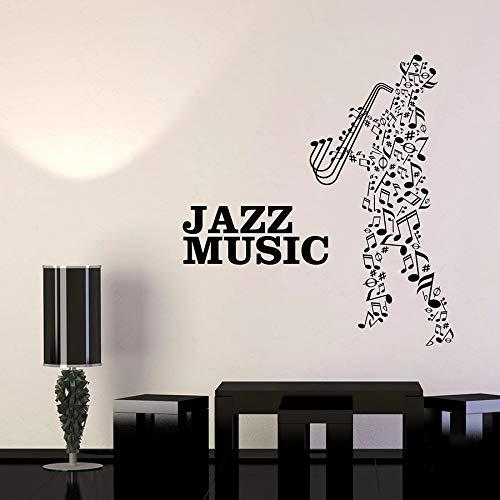 Tianpengyuanshuai Jazz Musik Wandtattoo Notizen Musiker Saxophonist Vinyl Aufkleber 45X31cm