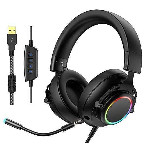 N / A Kopfhörer RGB Head-Mounted Gaming Headset mit Kabel USB-Mikrofon Gaming-Kopfhörer for Computer-Xbox-Telefone MP3 usw.