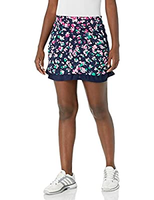 PGA TOUR Women's 16 Inch Printed Skort with Tummy Control Waistband, Allover Peacoat, Large