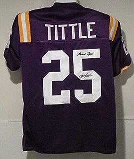 Signed Y.A. Tittle Jersey - YA Size XL Purple Geaux 13604 - Autographed College Jerseys