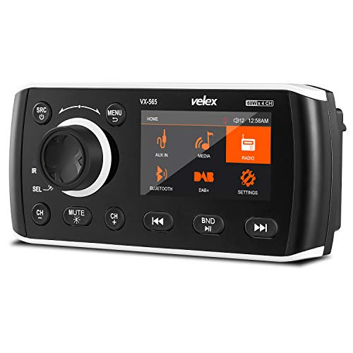 Marine Stereo, Audio Video Player DAB+/FM/AM met Bluetooth streaming, voor jacht, boot, UTV, ATV, powersport, spa