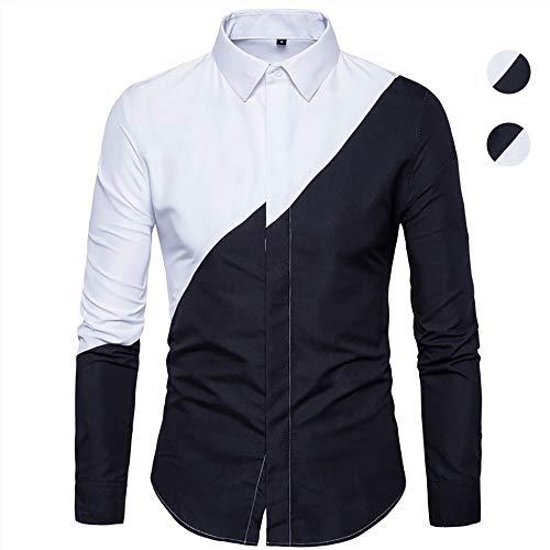 X&Armanis Camicia Business Casual da Uomo, Camicia in Contrasto Bianco e Nero in Misto Cotone Camicia Manica Lunga Bavero Moda,2,2XL
