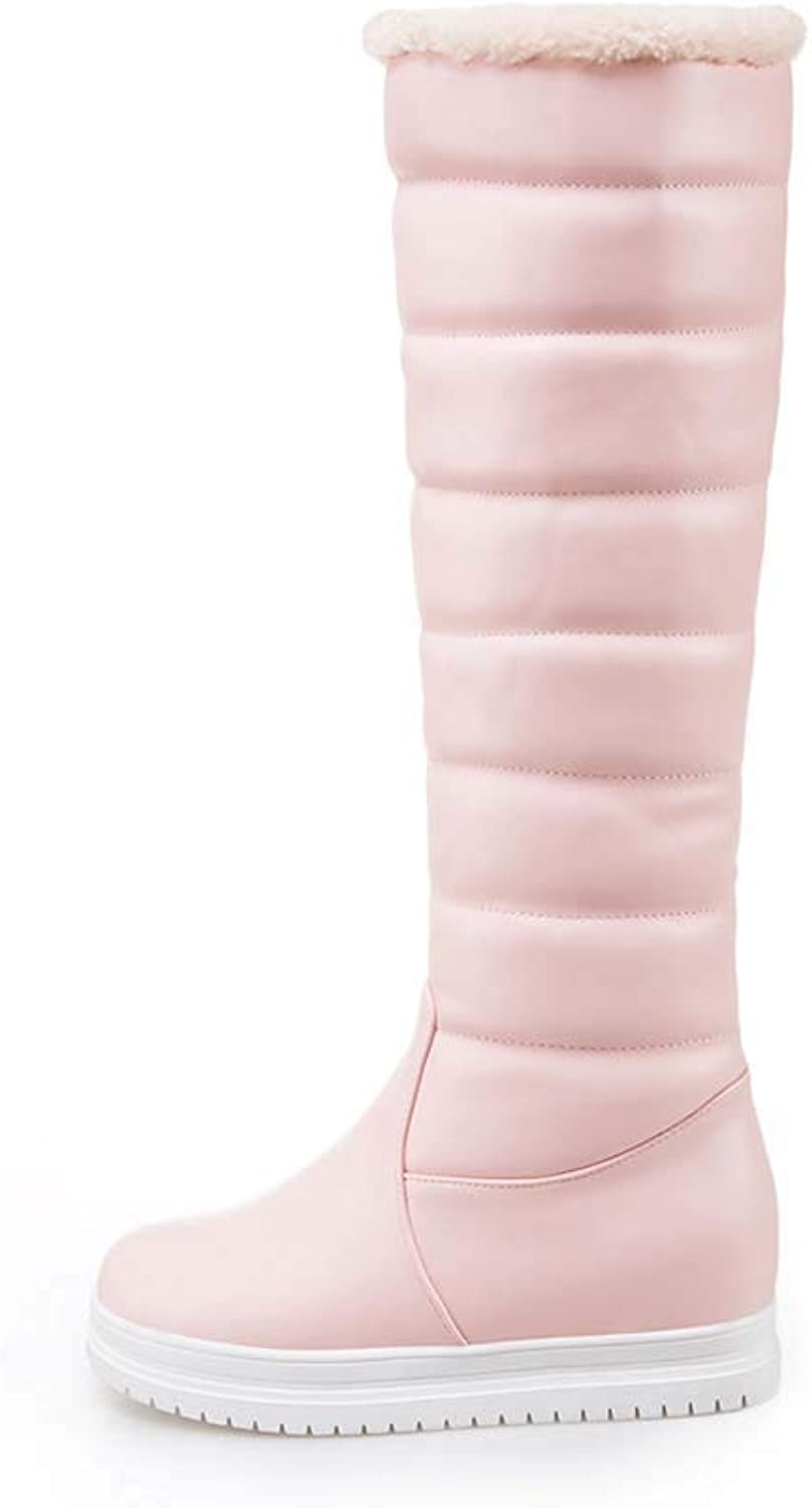 Women's Short Winter Boots Snow Boots Cow Suede Leather Faux Fur Linned