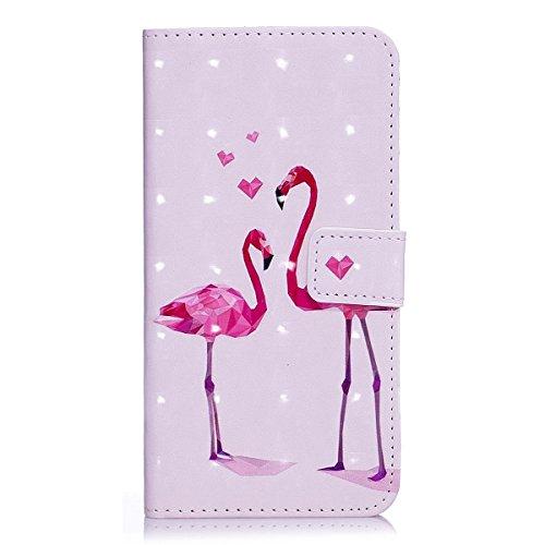 ISAKEN Kompatibel mit Galaxy S5 Hülle, PU Leder Brieftasche Ledertasche Handyhülle Tasche Hülle Schutzhülle Hülle Etui mit Standfunktion Karte Halter für Samsung Galaxy S5 Neo - Liebe Flamingo