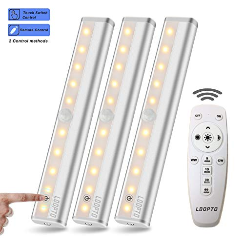 LDOPTO Wireless Under Counter Lighting 3 Pack with Remote Control   LED Under Cabinet Lighting   Closet Light   Battery Operated Lights   led Lights for Room   Stick On Lights Remote/Touch Control