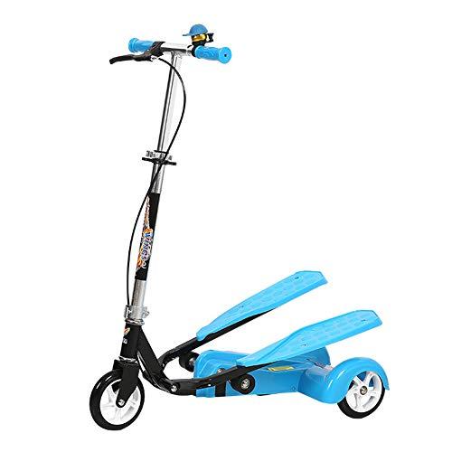 LANGWEI Wiggle Scooters para Niños, Scooter De 3 Ruedas con Mango De Altura Ajustable Patinetes Oscilantes Empuje A La Deriva para Niñas/Niños/Adultos,Azul