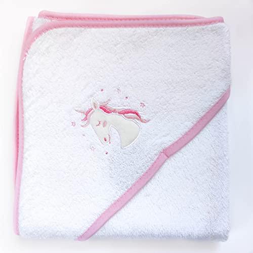 AMTBABY Toalla de baño con Capucha para Bebe. Capa de baño 100% Algodón. Toallitas 75 x 75 , Suave y Confortable. Unicornio