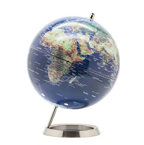 Exerz 25CM Globo Terráqueo - en Inglés - Decoración de escritorio educativa/geográfica/moderna - Con una base de metal (25cm Azúl Marino)
