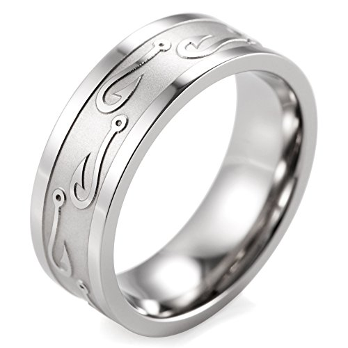 SHARDON Men's 8mm Titanium Ring with Embossed Fishhooks Size 11.5