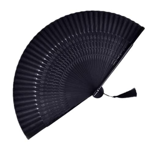 黒い絹織物のスペアリブの手は扇子を引き延ばして、竹の扇子、手は蘇州の扇子を引き延ばして誕生日の贈り物のためにダンスをします (Black)