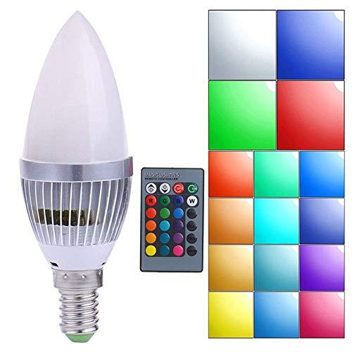 GCDN LED-Fernbedienung Energiesparende Kerzenlampe Dekoration RGB Mehrfarbig Dimmbar Farbwechsel(E14RGB)