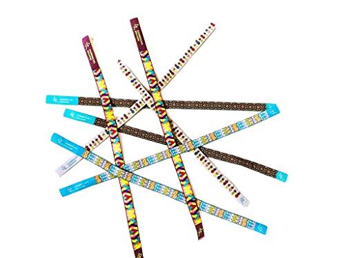 Pack de 4 Pulseras de Tela Jacquard, Pulseras Solidarias a Favor de Diseñadores Nóveles y con Estampados Tropicales, para Usar de Pulsera o Cinta para el Pelo