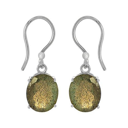 Shine Jewel Pendientes colgantes de labradorita de plata de ley 925 con corte ovalado para mujer Oval labradorita Gris