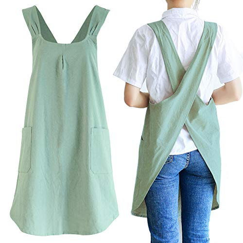 Japanese Linen Cross Back Kitchen Cooking Aprons for Men with Pockets for Baking Painting Gardening Cleaning Light Green