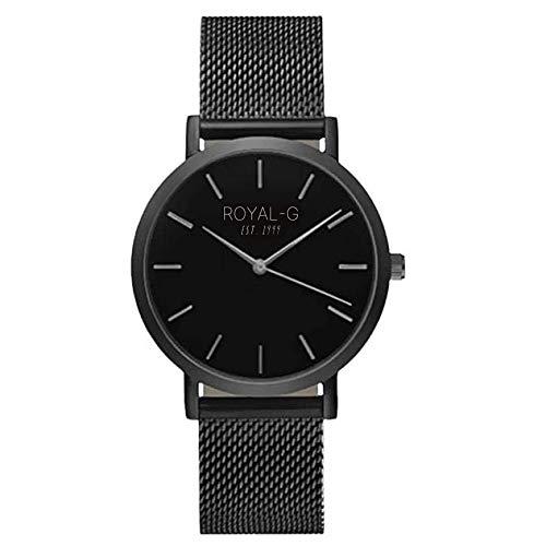 ROYAL-G Armbanduhren für Herren- Frauen Schwarz Schlichtes und Dünnes Armband Männer/Damen Uhren Günstig/Men and Women Watch Black