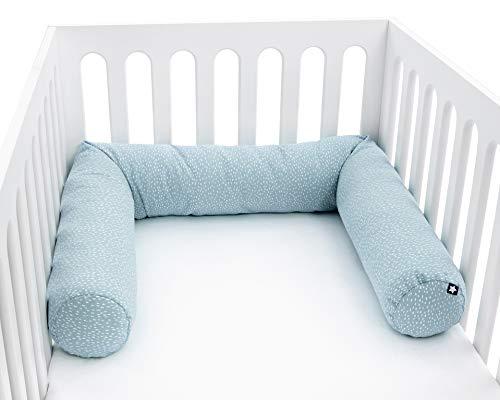 Julius Zöllner 8281069260 Nestchenschlange für Babybett , 180 cm Durchmesser 14 cm, Jersey-Baumwolle, Standard 100 by OEKO-Tex, Tiny Squares Greenery, grün