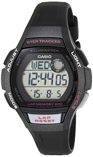 Casio Women's Runner Quartz Running Watch with Resin Strap, Black, 19.3 (Model: LWS-2000H-1AVCF)