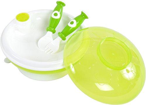 Bieco 79000100 Warmhaltetellerset Mit Deckel, Gabel Und Löffel, grün