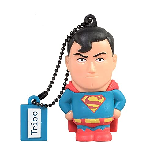 Tribe Warner Bros DC Comics Superman USB Stick 16GB Speicherstick 2.0 High Speed Pendrive Memory Stick Flash Drive, Lustige Geschenke 3D Figur, USB Gadget aus Hart-PVC mit Schlüsselanhänger – Mehrfarbig