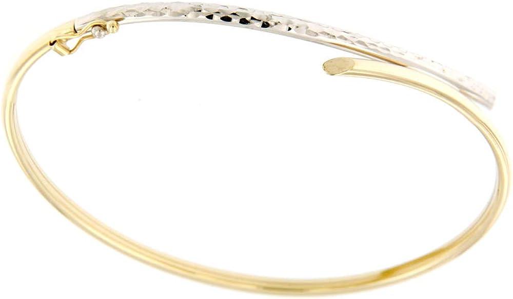 lucchetta gioielli - bracciale d`oro donna bangle in bianco e giallo 2b0725mla