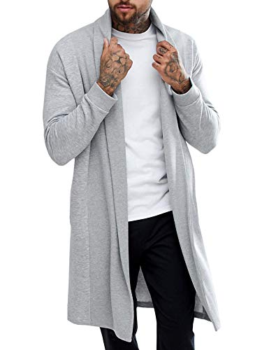 Pacinoble Mens Long Sleeve Cardigan Draped Lightweight Open Front Shawl Collar Longline Cardigan Gray