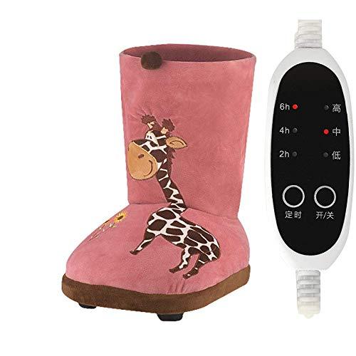 WSJTT Scaldapiedi Deluxe: Stivali elettrici morbidissimi con Fodera in Peluche, Riscaldamento rapido, Tessuto Lavabile in Lavatrice, Suola Antiscivolo Resistente (Color : Pink)