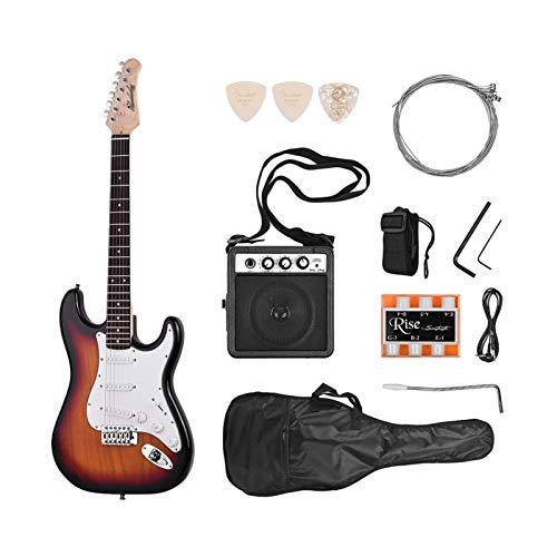 Wtbhd Elektrische Gitarright Hand 21 Bünde 6String Paulownia Body Ahornhals Massivholz mit Lautsprecher Pitch Pipe Guitar Bag Strap (Color : Sunburst, Size : 39 inches)