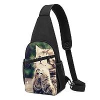 ボディバッグ かわいい子猫動物猫を祈る ショルダーバッグ ポリエステル ワンショルダーバッグ 軽量 アウトドア 多機能 登山 旅行 斜めがけバッグ