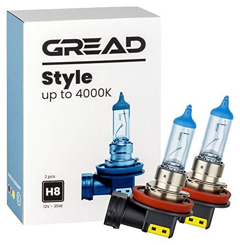 Preisvergleich Produktbild Gread - 2x H8 Halogen Lampen - stylisch weiss blau - Xenon Optik - Style