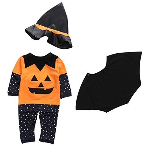 QinMMROPA Disfraz de Halloween para bebés niñas niños Capa y Tops y Pantalones y Sombrero Ropa Conjuntos recién Nacido Halloween Bruja Murciélago Vampiro Naranja 12-18 Meses