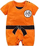 PWEINCY Baby Boy's Goku Halloween Costume Onesie Anime One-Piece Romper Jumpsuit Outfit for Infant Toddler (3-6 Months, Orange(Short Sleeve))