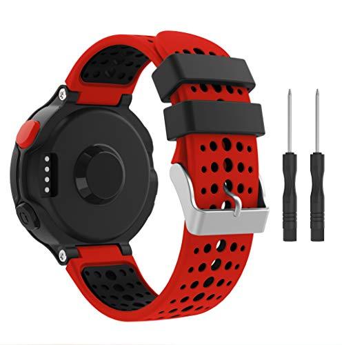 Syxinn Compatible con Correa Forerunner 235, Banda de Reloj de Reemplazo Silicona Suave Sports Pulsera para Forerunner 235/735XT/220/230/620/630 (Rojo-Negro)