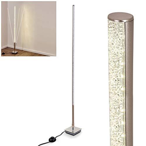 LED Stehlampe Strip aus Metall in Nickel-matt, verstellbare Stehleuchte mit Glitzer-Effekt, 1 x 7,8 Watt, 900 Lumen, Lichtfarbe 3000 Kelvin (warmweiß), Standleuchte mit Fußschalter am Kabel