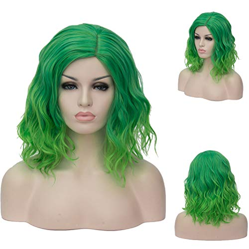 BTOOP 14 inches Green wigs Women's Cosplay Wig Medium Length Curly Fashion girls Wavy Curly hair wigs christmas Costume Party Bob wig with free wig cap and comb (light green)