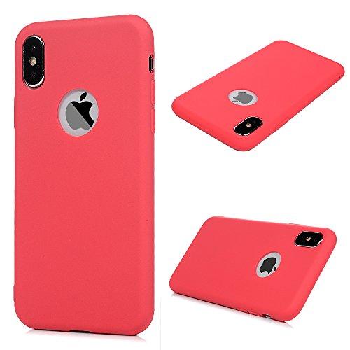KASOS Coque pour iphone X, Housse Case Bumper Étui Coque de Protection en TPU Soft Silicone Ultra Hybrid Ultra Mince Léger Modèle Dessin Housse -Rouge
