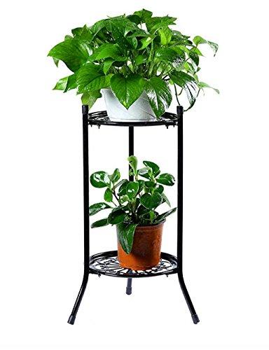 Européenne Simple Fer Flower Pot Shelf Plante Pied Salon Balcon Fleur Rack Fleur (couleur : Noir, taille : 50 cm)