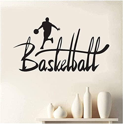 Pegatinas de pared arte decoración de la pared pegatinas jugando baloncesto deportes hombres corriendo continuamente hacia la canasta grandes letras hermosas 31x57cm