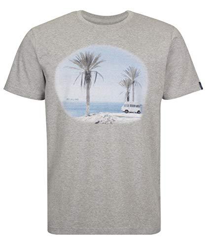 Elkline Herren T-Shirt Impressions VW Bulli Foto Print, Farbe:Greymelange, Größe:S