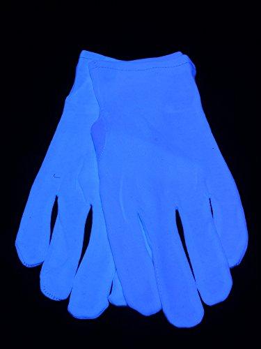 Paar Schwarzlicht Handschuhe für Herren Kurz Weißblau