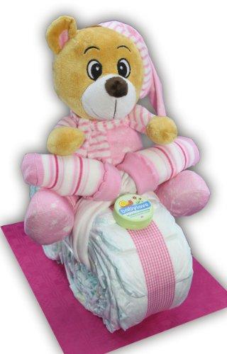 Großes Windelmotorrad/Windeltorte rosa mit Teddybär + Grußkärtchen mit Geschenknachricht